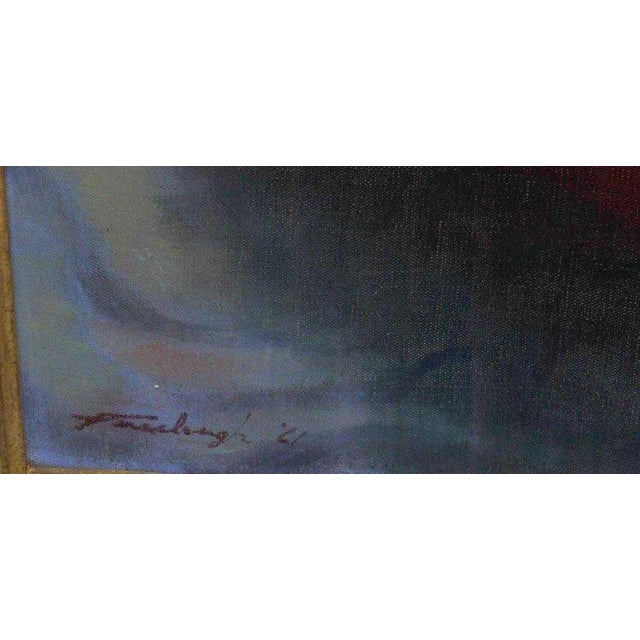 """Mid 20th Century American Oil on Canvas """"Repose"""" Signed J. Fairclough '61 For Sale - Image 5 of 7"""