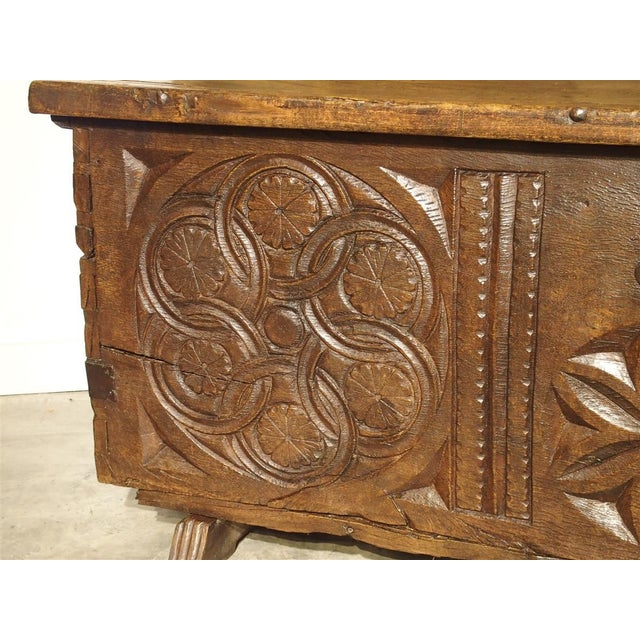 Large Carved Oak Plank Trunk From the Basque Country, Circa 1650 For Sale - Image 11 of 13