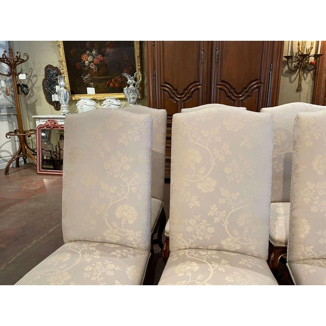 Wood Set of Eight Louis XV Style Carved Walnut Dining Chairs From Minton-Spidell For Sale - Image 7 of 13