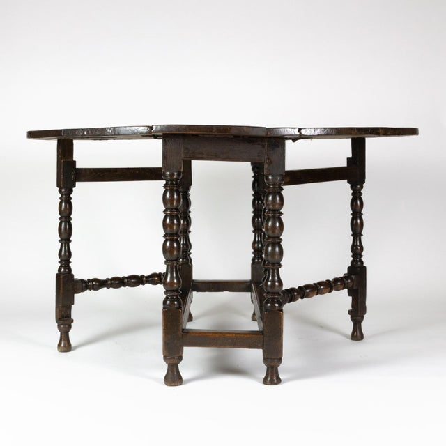 Wood Handsome English Oak Gateleg Table With Bobbin Turned Legs, Wonderfully Rich Patination, Circa 1800. For Sale - Image 7 of 13