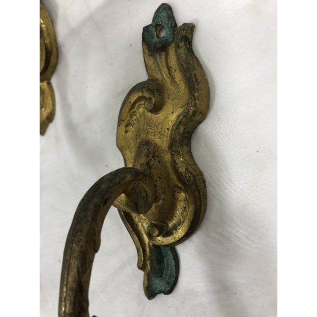 Late 18th Century French Antique 19th Century Gilded Bronze Curtain Tie Backs or Hooks - a Pair For Sale - Image 5 of 6