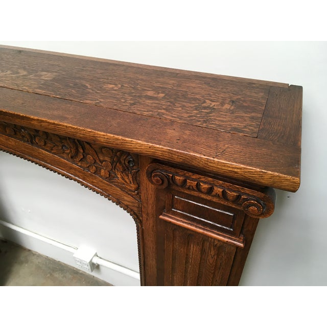 Antique Hand Carved Oak Fireplace Mantle For Sale - Image 10 of 11