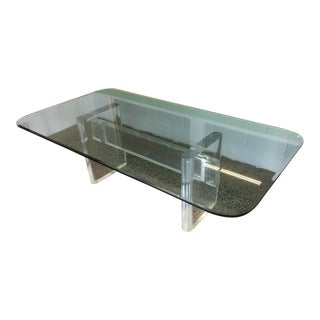 1980's Original Karl Springer Lucite Dining Table Base For Sale