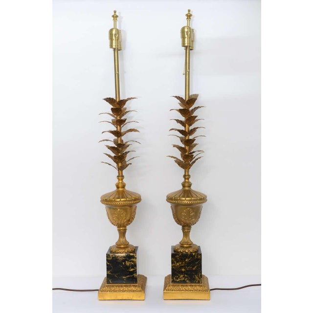 Black Pair of 1950s Modern Neoclassical Style Gilt and Faux Marble Table Lamps For Sale - Image 8 of 8