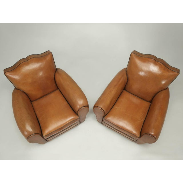 1930s French Fully Restored Club Chairs in Original Leather - a pair For Sale - Image 5 of 10