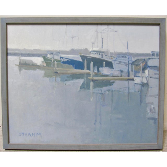 2010s Paul Strahm Contemporary Boat Harbor Docks California Seascape Oil Painting For Sale - Image 5 of 5