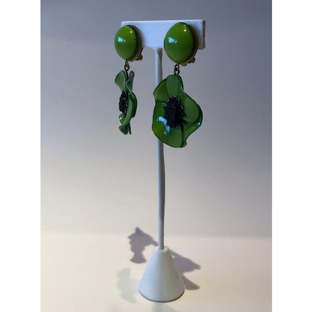 Cilea Green Poppy French Statement Earrings For Sale - Image 4 of 11