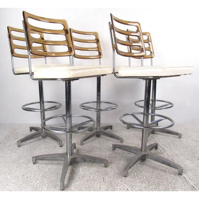 Mid-Century Lucite and Vinyl Bar Stools by Chrome Craft - Image 2 of 11