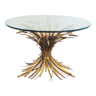 Italian Gilt Metal Wheat Sheaf Coffee Table For Sale