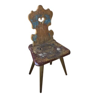 Small Painted Tyrolean Chair For Sale
