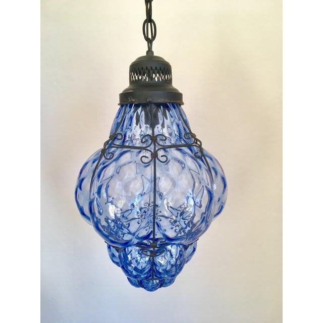 1960s 1960s Boho Chic Hand-Blown Blue Glass Cage Pendant For Sale - Image 5 of 5