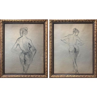 Vintage Pair of Mid Century Female Nude Figure Study Drawings C. 1950 For Sale