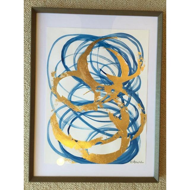 Framed Blue & Gold Watercolor - Image 3 of 4
