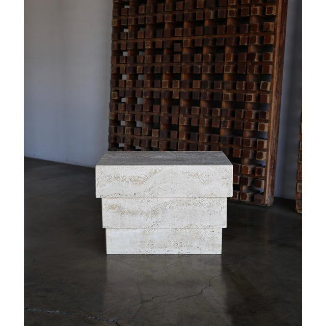 Angelo Mangiarotti 1980s Vintage Sculptural Modernist Travertine Side Table For Sale - Image 4 of 13