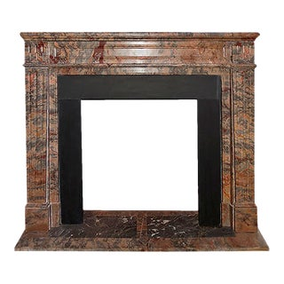 Late 19th Century Gray Peach and Deep Red Marble Fireplace Mantel For Sale