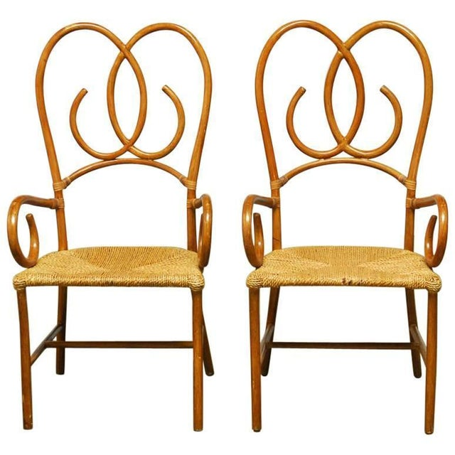 French Art Deco Style Rattan Armchairs - Pair - Image 1 of 10