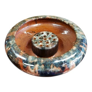1920 Brush Pottery Brown Onyx Glaze Flower Frog and Console Bowl For Sale