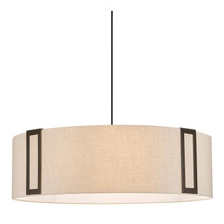 Penny Bronze and Linen Pendant Light For Sale
