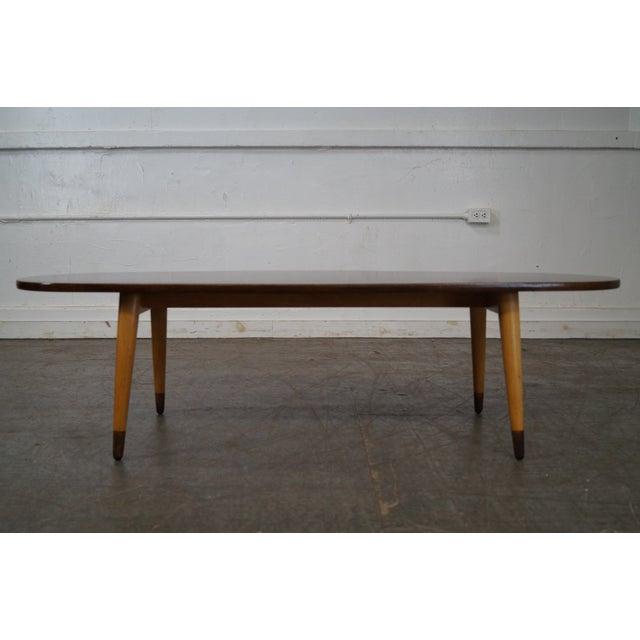 Mid Century Swedish Modern Oval Walnut Coffee Table - Image 8 of 10