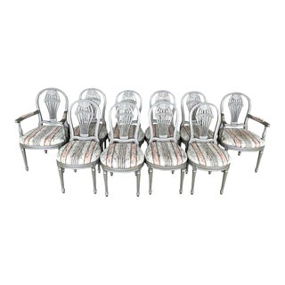 "Ten Louis XVI Style Silver Leaf ""Montgolfier"" Hot Air Balloon Back Dining Chairs - Set of 10 For Sale"