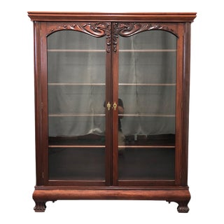 Antique Mahogany China / Curio / Liquor Cabinet With Paw Feet For Sale
