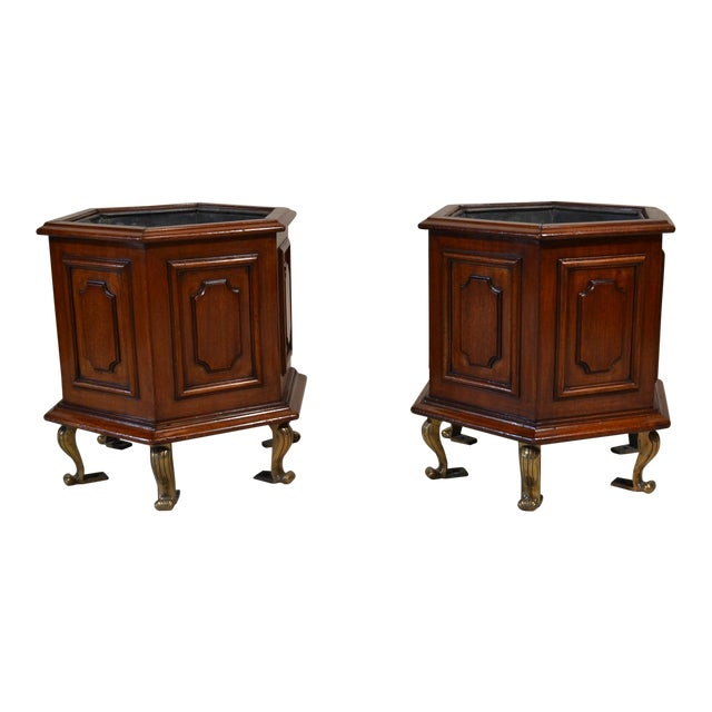 Pair of Antique Mahogany Jardinieres With Original Iners For Sale