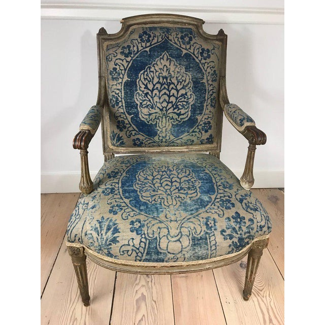 18th Century Louis XVI Bergere Chair With Fortuny Upholstery - Image 2 of 8