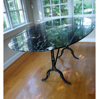 1950s French Cast Iron Base and Nero Marquina Knife-Edge Marble Top Bistro Table Preview
