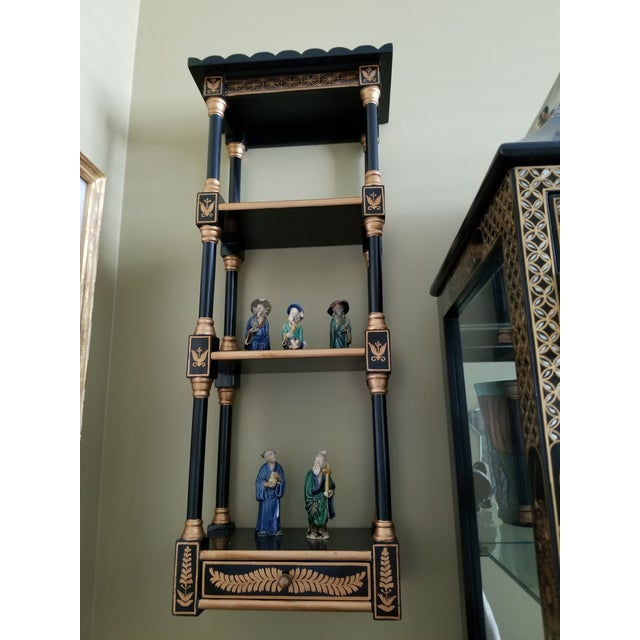 Last Call Black & Gold Asian Shelving Unit For Sale In Miami - Image 6 of 9