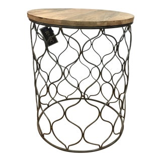Iron Arabesco Side Table with Mango Wood Top For Sale
