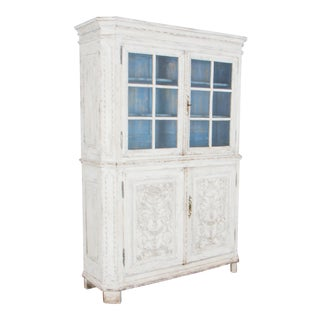 Early 19th Century French Country White Patinated China Cabinet For Sale