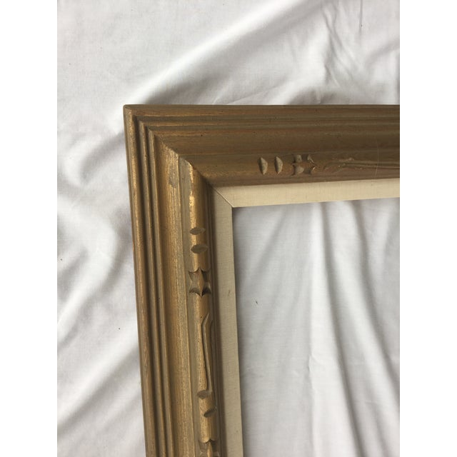 Large Mid-Century Gold Carved Gold Wood Frame - Image 6 of 11