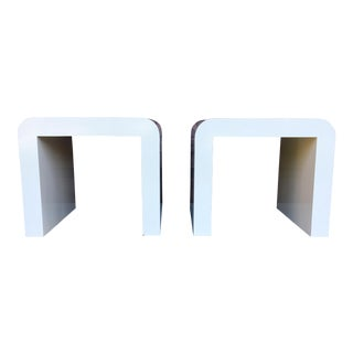 1970s Mid-Century Modern Karl Springer Style Laminate Side Tables - a Pair For Sale