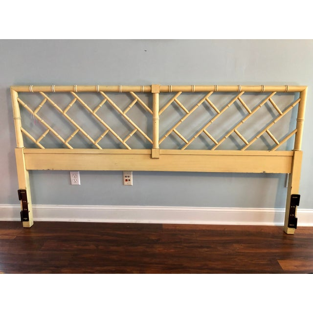Henry Link Chippendale Yellow Bamboo King Size Headboard - Image 2 of 7