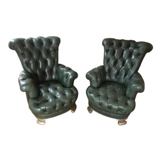 English Style Tufted Leather Library Chairs - A Pair