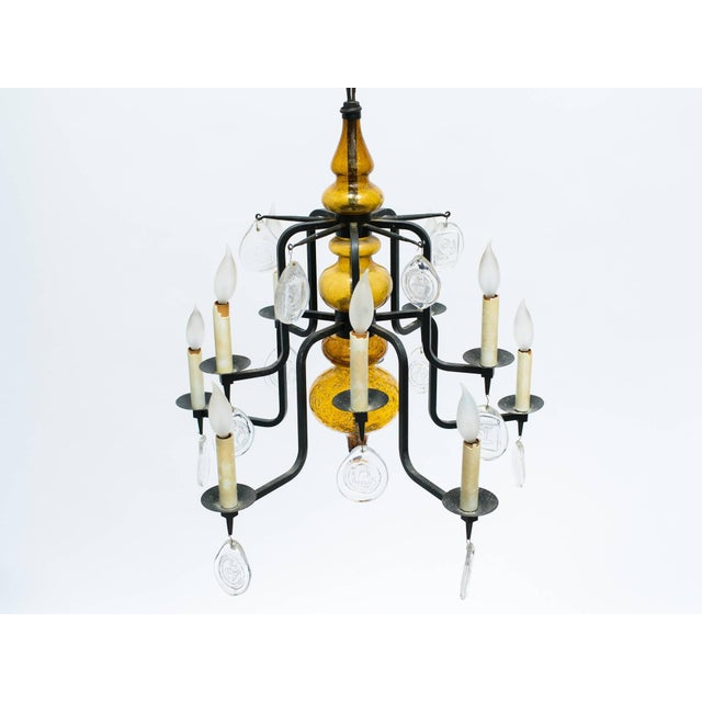 Metal Erik Hoglund Art Glass Chandelier For Sale - Image 7 of 11