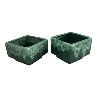 Green Ceramic Stacking Square Planters - A Pair For Sale