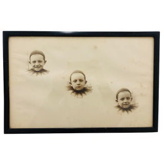 Antique French Pierrot Portrait in Frame For Sale