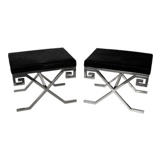 Jean Michel Frank Style Chrome & Hide Benches - A Pair For Sale