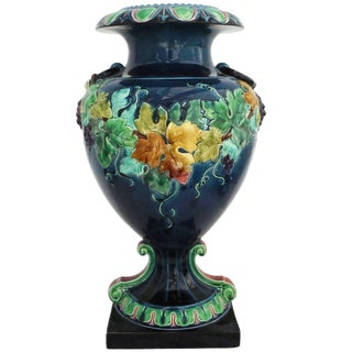 19th French Monumental Renaissance Style Majolica Grapes Blue and Green Vase
