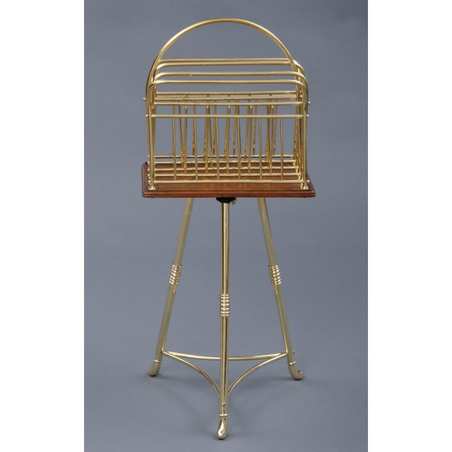English Brass Revolving Magazine Stand, Antique For Sale - Image 3 of 3