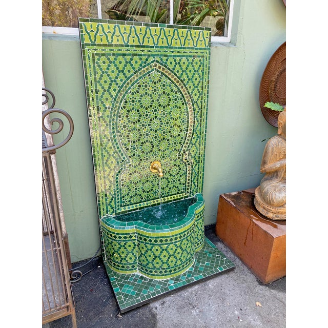 Moroccan Green Moroccan Tile Wall Fountain For Sale - Image 3 of 7