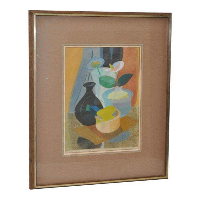 1950s Still Life with Flowers Woodblock For Sale
