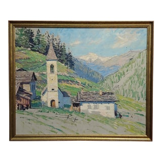 1913 Charles Ebert -Old Church in an Montain Valley-Oil Painting For Sale