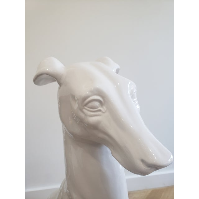 Ceramic Mid-Century Hollywood Regency Style Glazed Ceramic Greyhound Whippet Statue For Sale - Image 7 of 12