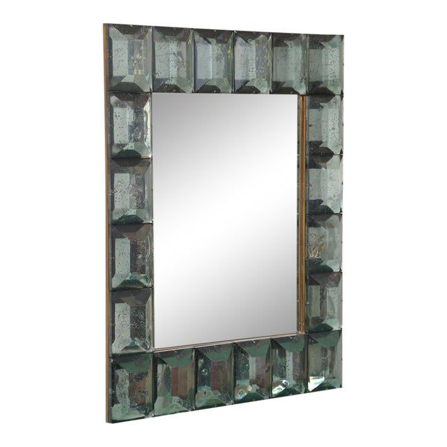 Faceted Murano Glass Mirror in Sea Green For Sale