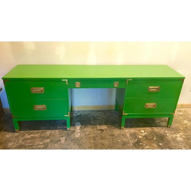 Green Lacquered Campaign Desk For Sale - Image 9 of 9