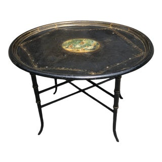 Antique Victorian Papier Mache Gilt Mother of Pearl Inlay Table For Sale