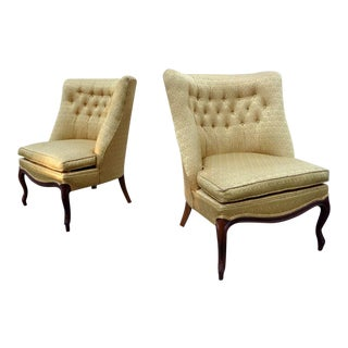 Mid Century Gold Tufted Lounge Slipper Chairs ~ a Pair For Sale