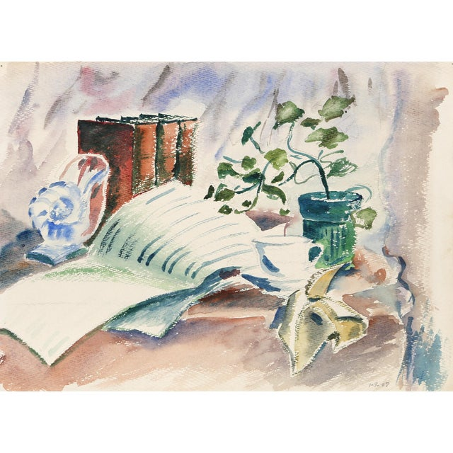 Eve Nethercott, Still Life With Books (P6.26), Watercolor on Paper For Sale